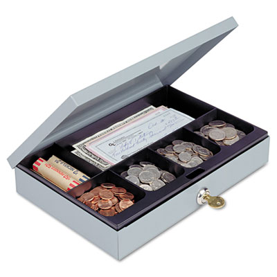Heavy-Duty Steel Low-Profile Cash Box w/6 Compartments, Key Lock
