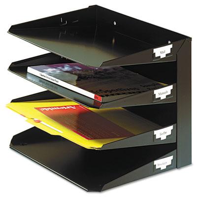 Beau Steelmaster Multi Tier Horizontal Letter Organizers, Four Tier, Steel, Black