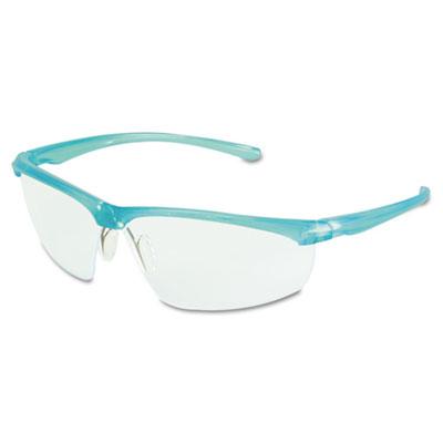 Refine 201 Safety Glasses, Wraparound, Clear AntiFog Lens, Teal