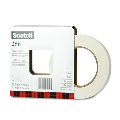 "256 Printable Flatback Paper Tape, 1/2"" x 60yds, 3"" Core"