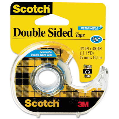 """667 Double-Sided Removable Office Tape and Dispenser, 3/4"""" x 400"""