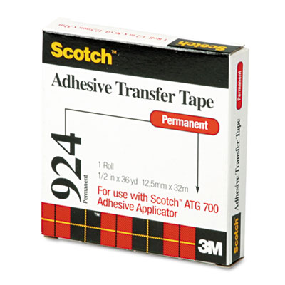 "Adhesive Transfer Tape, 1/2"" Wide x 36yds"