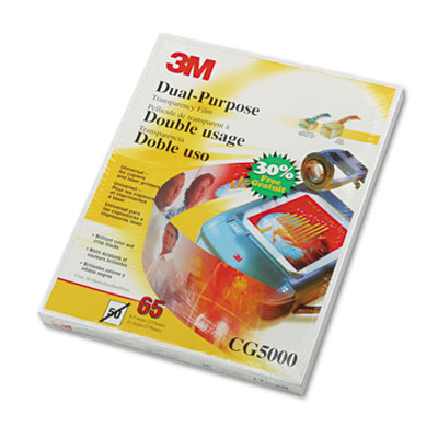 Dual-Purpose Transparency Film, Letter, Clear, 50/Box