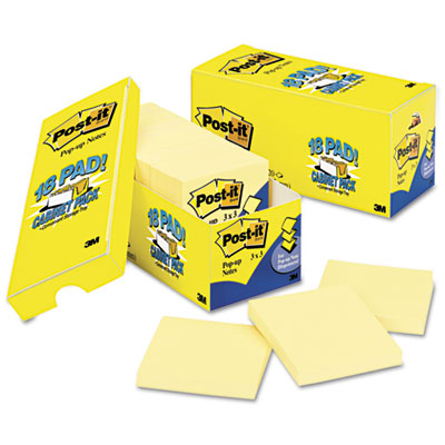 Cabinet Pack, Pop-up Notes, 3 x 3, Canary Yellow, 18 90-Sheet Pa