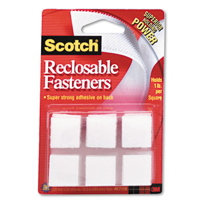 "Reclosable Hook and Loop Fastener Squares, 7/8"" Wide, White, 24"