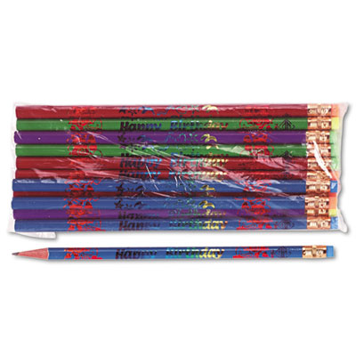 Decorated Wood Pencil, Happy Birthday, #2, BLK/BE/GN/PE/RD, Doze
