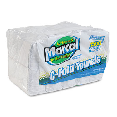 Embossed Paper Towels, C-fold, White, 150/Pack