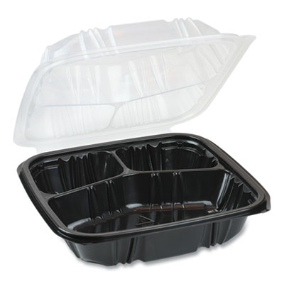 EarthChoice Dual Color Hinged-Lid Takeout Container 3-Compartment 34 oz 10.5 x 9.5 x 3 Black/Clear 132/Carton DC109330B000