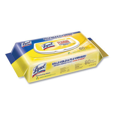 Disinfecting Wipes Flatpacks, 6.69 x 7.87, Lemon and Lime Blossom, 80 Wipes/Flat Pack, 6 Flat Packs/Carton
