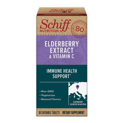 Schiff Elderberry Extract & Vitamin C Chewable Tablets, (60 count in a bottle), Vegetarian, Non-GMO, Natural Flavors, Helps Support A Healthy Immune System & Cellular Health