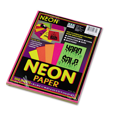 Array Colored Bond Paper, 24lb, 8-1/2 x 11, Assorted Neon, 100 S