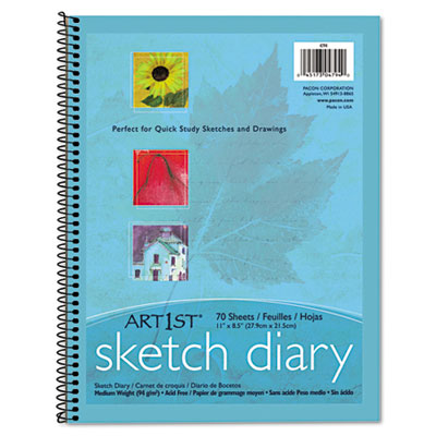 "Art1st Sketch Diary, 8-1/2"" X 11"", 60 lb, 70 Sheets, White"