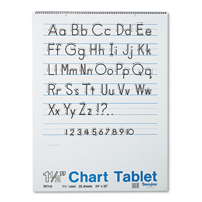Chart Tablets w/Manuscript Cover, Ruled, 24 x 32, White, 25 Shee