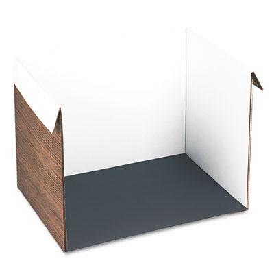 Corrugated Study Carrel, 25w x 18d x 17h, Woodgrain Print