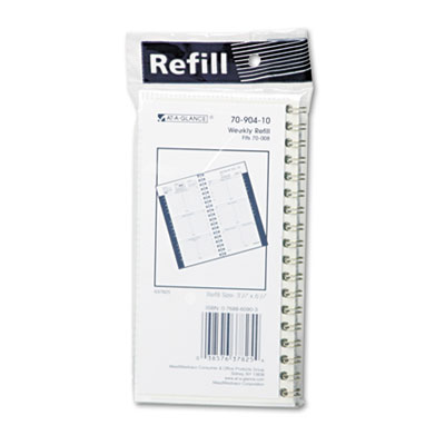 Recycled Weekly Appointment Book Refill, Hourly Ruled, 3-1/4 x 6