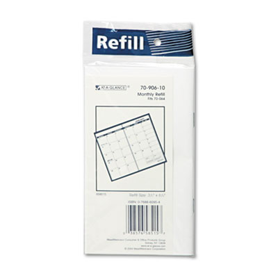 Recycled Monthly Planner Refill, 3-1/2 x 6-1/8, 2015-2016