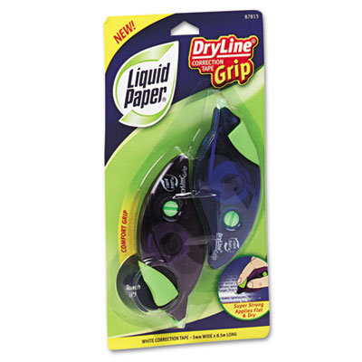 "DryLine Grip Correction Tape, 1/5"" x 335"", Blue/Purple Dispenser"