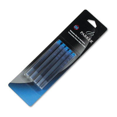 Refill Cartridge for Washable Ink Fountain Pens, Blue Ink, 5/Pac