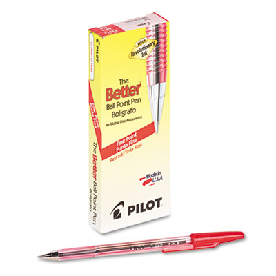 Better Ball Point Stick Pen, Red Ink, .7mm, Dozen