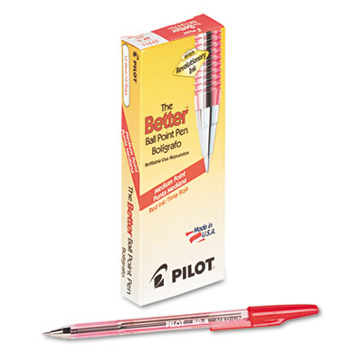 Better Ball Point Stick Pen, Red Ink, 1mm, Dozen