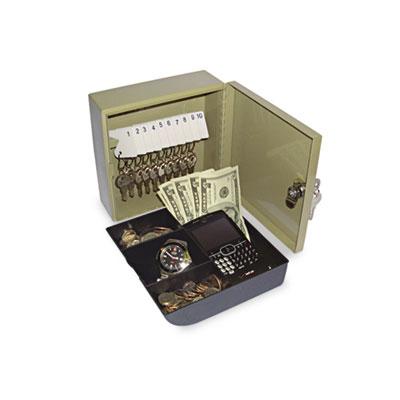 Key Cabinet/Drawer Safe, 10-Key, Steel, Pebble Beige, 6 3/4 x 6