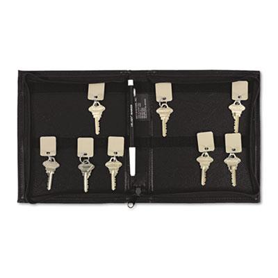 Security-Backed Zippered Case, 24-Key,Vinyl, Black, 7 x 1 x 8 3/