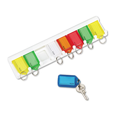 Color-Coded Key Tag Rack, 8-Key, Plastic, White, 10 1/2 x 1/4 x