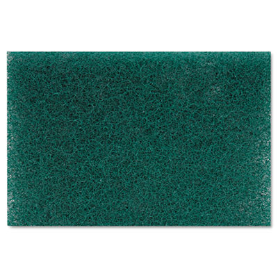 Heavy-Duty Scour Pad, Green, 6 x 9, 15/Carton