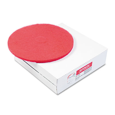"Standard 12"" Diameter Buffing Floor Pads, Red, 5/Carton"