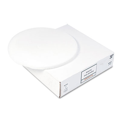 "Standard 12"" Diameter Polishing Floor Pads, White, 5/Carton"