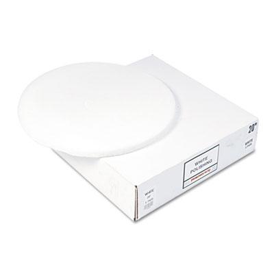 "Standard 12"" Diameter Polishing Floor Pads, White, 5/Carton"