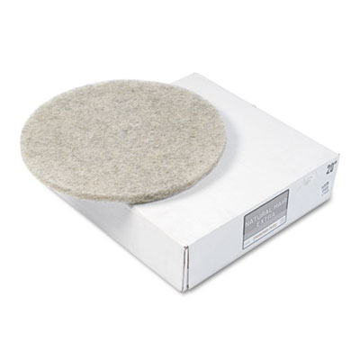 "Natural Hair Extra High-Speed Floor Pads, Natural, 20"" dia, 5/Ca"