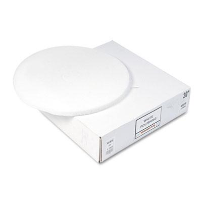 "Standard Floor Pads, 20"" dia, White, 5/Carton"