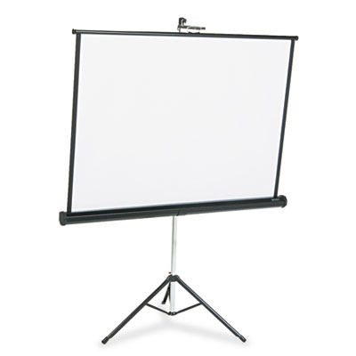Portable Tripod Projection Screen, 50 x 50, White Matte, Black S