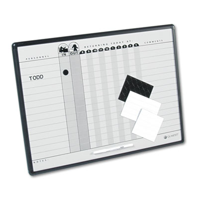 Quartet Magnetic Employee In/Out Board, Porcelain, 24 x 18, Gray/Black, Aluminum Frame at Sears.com