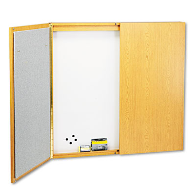 Cabinet, Dry Erase, Fabric/Porcelain/Steel, 48 x 48 x 24, White,