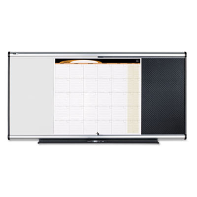 3-in-1 Board, Embossed Foam, 35 x 24, Black/White, Gray Aluminum