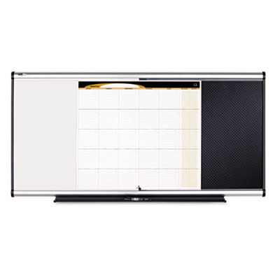 3-in-1 Combo Dry Erase/Bulletin/Calendar Board, 48 x 24, Black,
