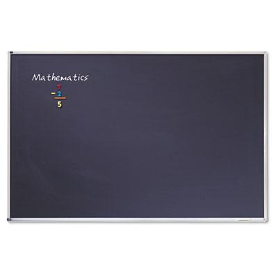 "Porcelain Black Chalkboard w/Aluminum Frame, 72"" x 48"", Silver"