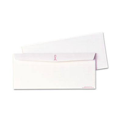 Breast Cancer Awareness Envelope, Contemporary, #10, White/Pink