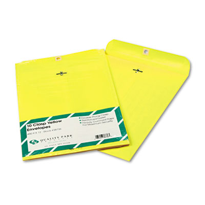 Fashion Color Clasp Envelope, 9 x 12, 28lb, Yellow, 10/Pack