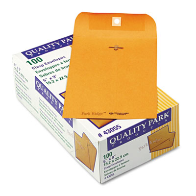 Park Ridge Kraft Clasp Envelope, 6 x 9, Brown Kraft, 100/Box