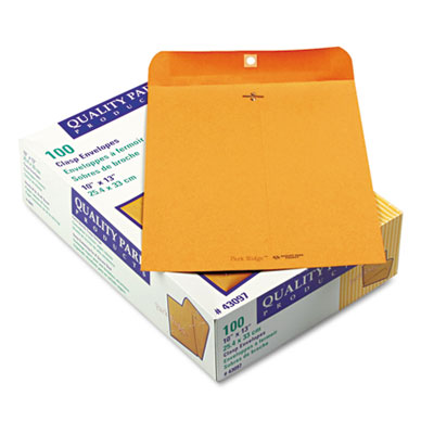 Park Ridge Kraft Clasp Envelope, 10 x 13, Brown Kraft, 100/Box