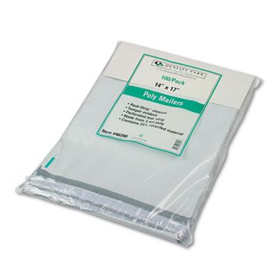 Redi-Strip Poly Mailer, Side Seam, 14 x 17, White, 100/Box