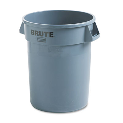 Brute Refuse Container, Round, Plastic, 32 gal, Gray