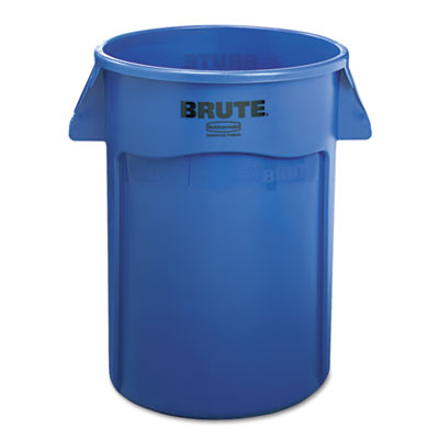 Brute Vented Trash Receptacle, Round, 44gal, Blue