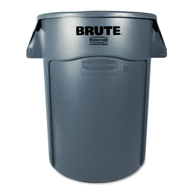 Brute Vented Trash Receptacle, Round, 44gal, Gray