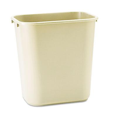 Deskside Plastic Wastebasket, Rectangular, 7gal, Beige