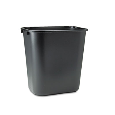 Deskside Plastic Wastebasket, Rectangular, 7gal, Black