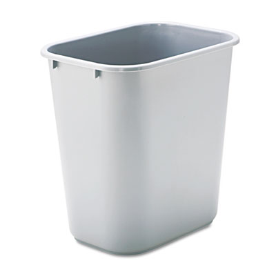 Deskside Plastic Wastebasket, Rectangular, 7gal, Gray